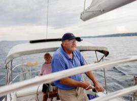Retired couple enjoying their boat