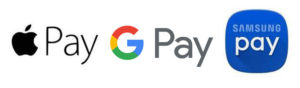 Apple Pay, Google Pay, and Samsung Pay Logos