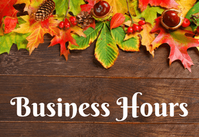 Fall Business Hours (Thanksgiving)