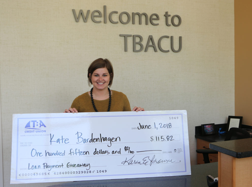 2018 Loan Payment Giveaway Winner Kate Bardenhagen