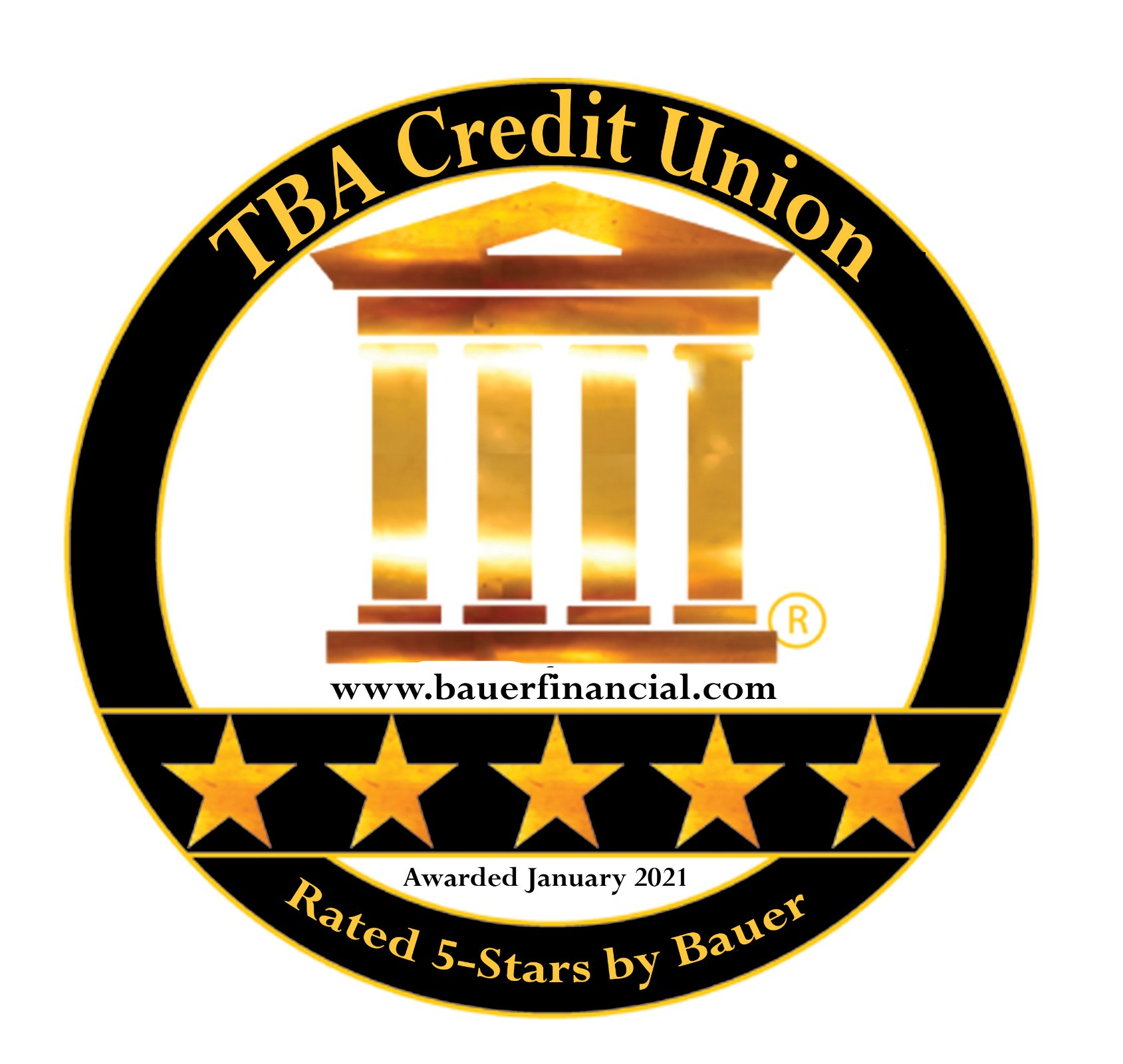 TBA Credit Union 5-Star Bauer Financial Rating. January 2021.